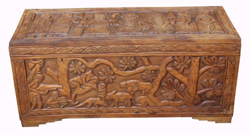 Carved Benin Hardwood Trunk c.1950 (1 of 1)