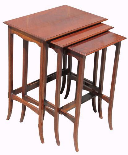 Nest of Three Mahogany Edwardian Tables (1 of 1)