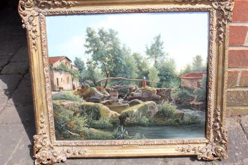 Fishing by a Bridge / Signed: Ferdinand Perrot (1 of 1)