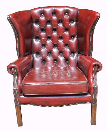 Leather Upholstered Wing-Back Armchair C.1950 (1 of 1)