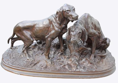 Bronze Group of Two Tethered Hounds c.1870 (1 of 1)