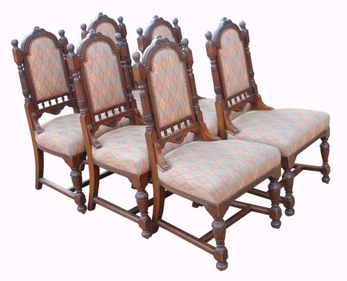 Set of Six Victorian Walnut Dining Chairs (1 of 1)