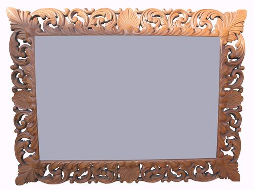 Lovely Victorian Carved Oak Mirror (1 of 1)
