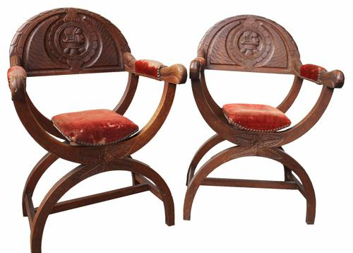 Pair of Black Forest Hall Chairs c.1890 (1 of 1)