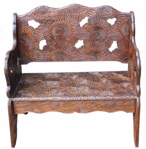 Early 20th Century Carved Hardwood Bench (1 of 3)