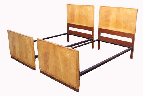 Pair of Satinwood Art Deco Single Beds (1 of 1)