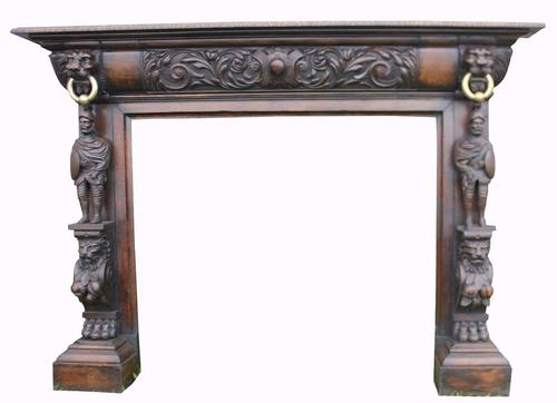 Superb Carved Oak Fireplace c.1850 (1 of 1)