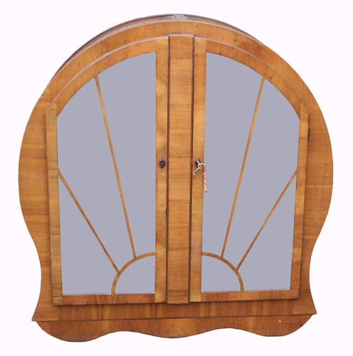 An Unusual Art Deco Walnut Display Cabinet (1 of 1)