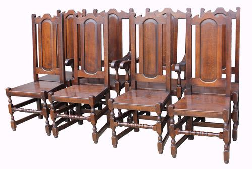 Superb Set of Eight Jacobean Style Oak Dining Chairs (1 of 1)