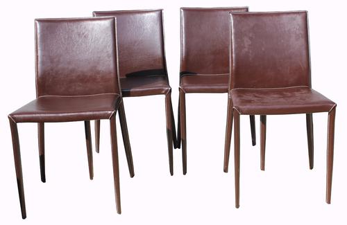 Set of Four Leather Covered Italian Dining Chairs (1 of 1)