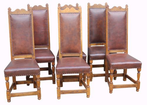 Superb Set of Six Distressed Oak Dining Chairs (1 of 1)