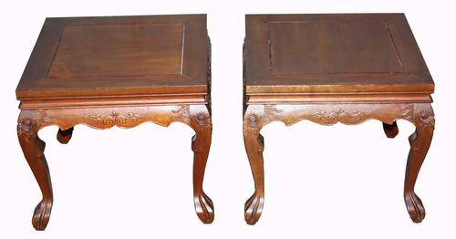 Pair of Chinese Hardwood Lamp Tables C.1920 (1 of 1)