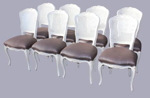 Set of Eight White Painted Bergere Dining Chairs (1 of 1)
