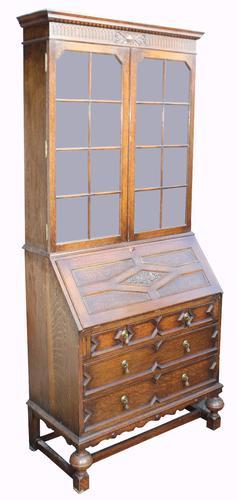 Jacobean Style Oak Bureau Bookcase c.1930 (1 of 1)