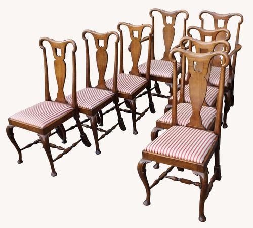 Set of Eight Superb Victorian Queen Anne Style Oak Dining Chairs (1 of 1)
