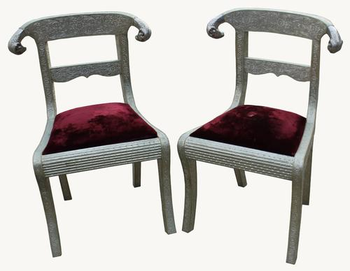 Pair of Anglo Indian Hall Chairs C.1900 (1 of 1)