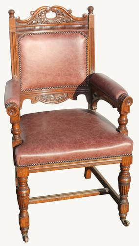 Lovely Quality Victorian Carved Oak Desk Chair (1 of 1)