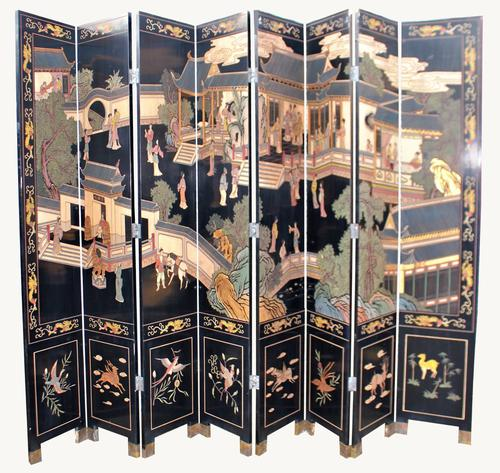 Fabulous Chinese Lacquered Tall Eight Panel Screen C.1920 (1 of 1)