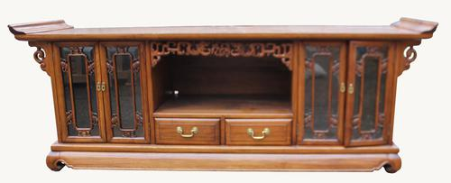 Chinese Hardwood Low Bookcase Cabinet (1 of 1)