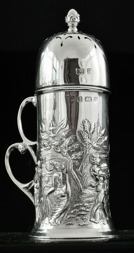 Art Nouveau Silver Sugar Castor, Birmingham 1902, T H Hazlewood & Co (1 of 12)