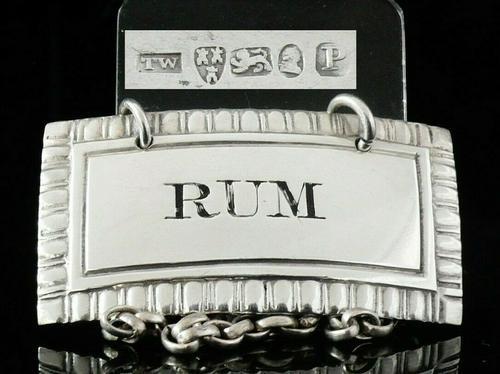 Antique Silver Rum Decanter Label, Newcastle 1829, Thomas Wheatley (1 of 7)