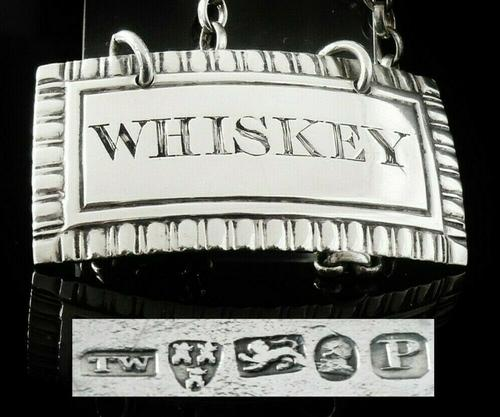 Antique Silver Whiskey Decanter Label, Newcastle 1829, Thomas Wheatley (1 of 7)