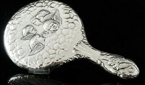Large Silver Hand Mirror, Reynolds Angels Cherubs, Chester 1923, James Deakin (1 of 12)