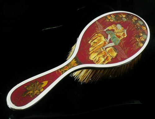 Japanese Theme Silver & Wood Hair Brush, Birmingham 1924, Henry Clifford Davis (1 of 8)