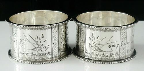 Pair of Antique Silver Aesthetic Napkin Rings, T & R Hayes, Birmingham 1884 (1 of 9)