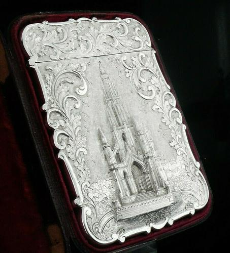 Nathaniel Mills Antique Silver Card Case (Cased) Sir Walter Scott Monument 1844 (1 of 10)