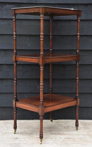 Fine Quality 19th Century Georgian Mahogany Three Tier Whatnot / Display Stand / Shelves (1 of 11)