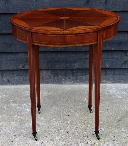 Fine Quality Edwardian Mahogany & Satinwood Inlaid Oval Occasional Table / Lamp Table / Wine Table c.1910 (1 of 6)