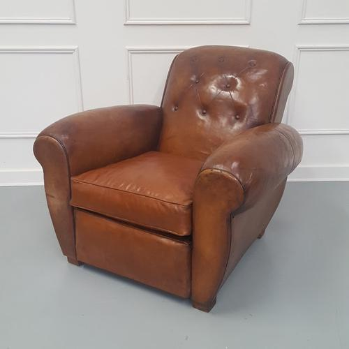 Large French Buttoned Leather Club Chair c.1930 (1 of 8)