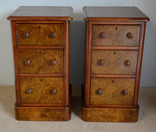 Pair of Burr Walnut Bedside Chest (1 of 5)