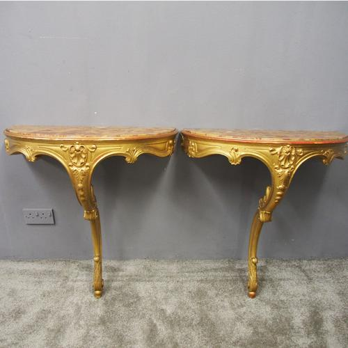Pair of Marble Top & Gilded Console Tables (1 of 8)