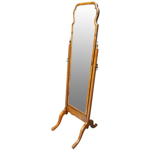 Queen Anne Style Walnut Cheval Mirror (1 of 10)