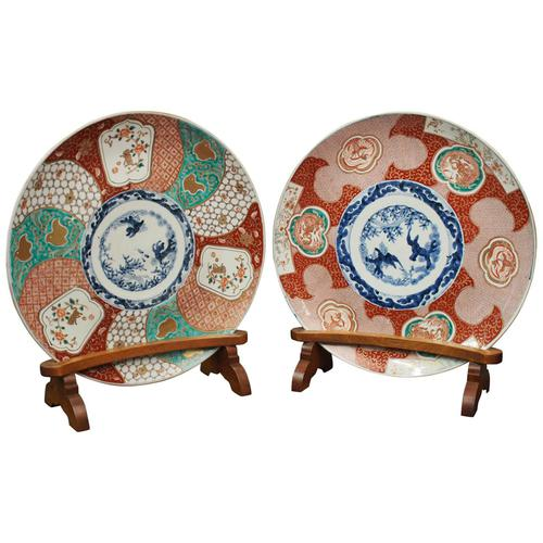 Matched Pair of Imari Chargers on Stands (1 of 12)