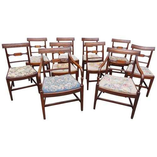 Set of 10 George III Inlaid Mahogany Dining Chairs (1 of 11)