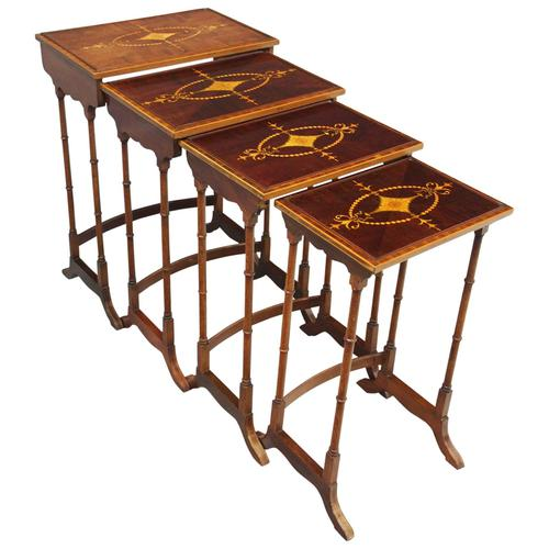Sheraton Style Inlaid Mahogany Nest of Tables c.1900 (1 of 14)