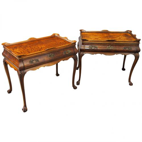 Matched Pair of Dutch Burr Walnut Silver Tables (1 of 14)