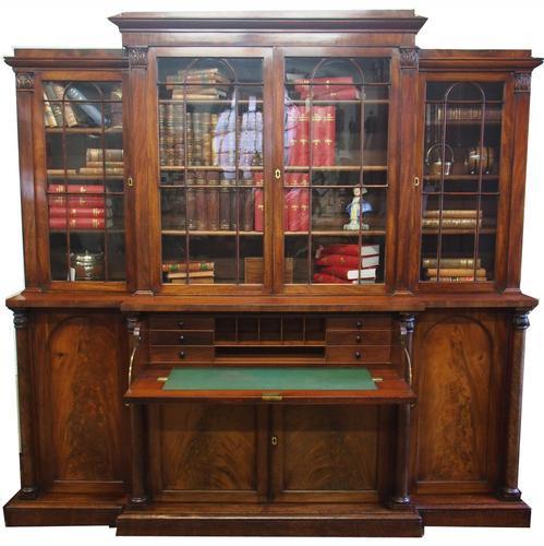 William IV Mahogany Breakfront Secretaire Bookcase (1 of 11)