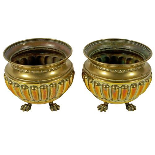 Pair of Large Edwardian Brass Planters (1 of 8)