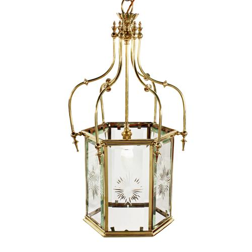 Edwardian Hexagonal Brass Hall Lantern (1 of 7)