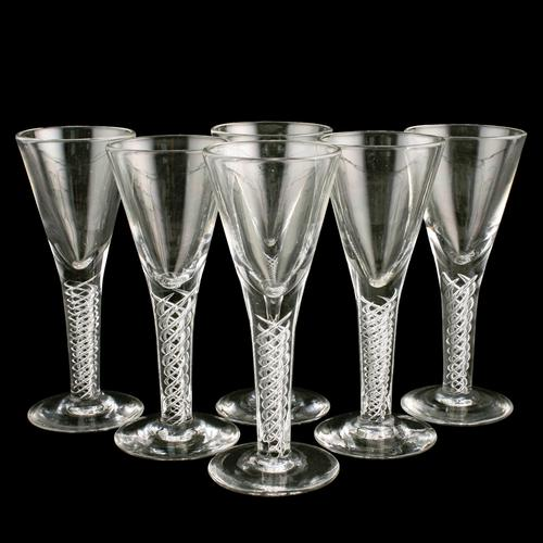 Six 18th Century Style Air Twist Glasses (1 of 8)
