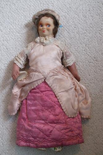Rare Antique Apprentice Piece Costume Fabric Doll - All Hand Stitched (1 of 12)