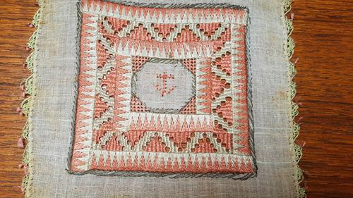 2 X Georgian Embroidered Squares, Silk, Linen, Gold Thread, Anchors (1 of 5)