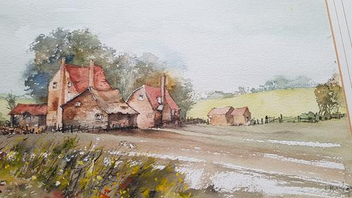 Watercolour, English Rural Scene, Farmhouse, Sailing Ship on Reverse, Unframed (1 of 5)