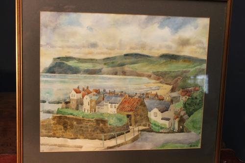 Robin Hoods Bay Watercolour Signed Inglis (1 of 4)