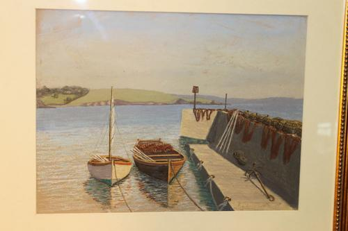 West Country Harbour, Pastel Signed F Chenoweth 1950 (1 of 4)