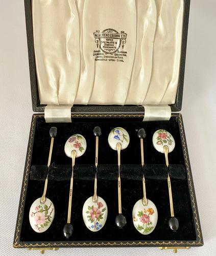 Pretty Enamel on Silver Spoons c.1930 (1 of 6)